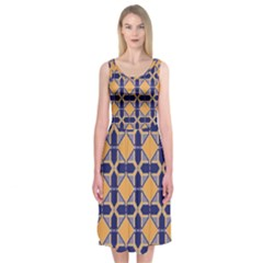 Squares   Geometric Pattern Midi Sleeveless Dress