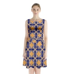 Squares   Geometric Pattern Sleeveless Chiffon Waist Tie Dress