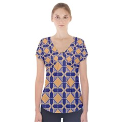 Squares   Geometric Pattern Short Sleeve Front Detail Top