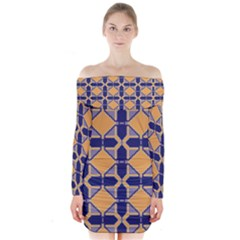 Squares   Geometric Pattern Long Sleeve Off Shoulder Dress