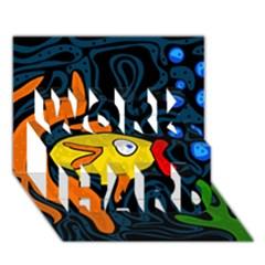Yellow fish WORK HARD 3D Greeting Card (7x5)