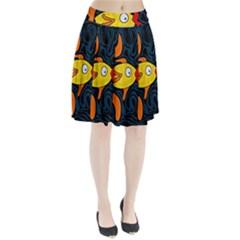 Yellow Fish Pleated Skirt