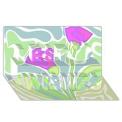 Purple flowers Best Wish 3D Greeting Card (8x4)