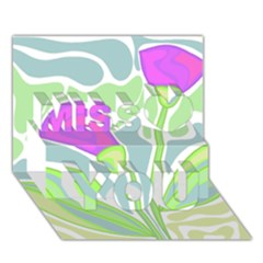 Purple Flowers Miss You 3d Greeting Card (7x5)