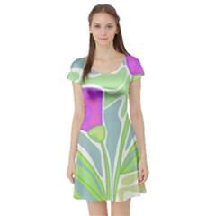 Purple flowers Short Sleeve Skater Dress