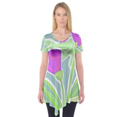Purple Flowers Short Sleeve Tunic