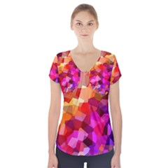 Geometric Fall Pattern Short Sleeve Front Detail Top