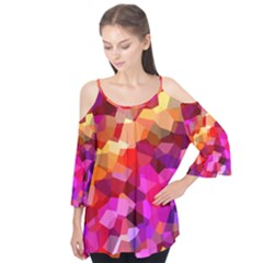 Geometric Fall Pattern Flutter Sleeve Tee