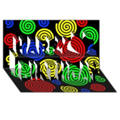 Colorful hypnoses Happy Birthday 3D Greeting Card (8x4)