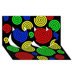 Colorful hypnoses Twin Hearts 3D Greeting Card (8x4)