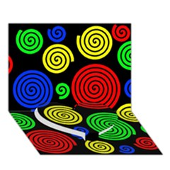 Colorful hypnoses Heart Bottom 3D Greeting Card (7x5)