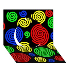 Colorful hypnoses Circle 3D Greeting Card (7x5)