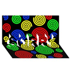 Colorful hypnoses SORRY 3D Greeting Card (8x4)