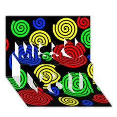 Colorful hypnoses Miss You 3D Greeting Card (7x5)