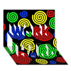 Colorful hypnoses WORK HARD 3D Greeting Card (7x5)