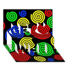 Colorful hypnoses Get Well 3D Greeting Card (7x5)