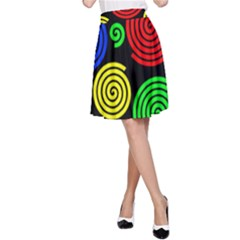 Colorful hypnoses A-Line Skirt
