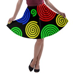 Colorful hypnoses A-line Skater Skirt