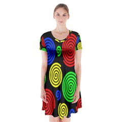 Colorful Hypnoses Short Sleeve V Neck Flare Dress
