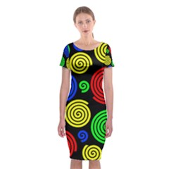 Colorful hypnoses Classic Short Sleeve Midi Dress