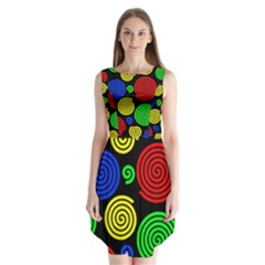 Colorful Hypnoses Sleeveless Chiffon Dress