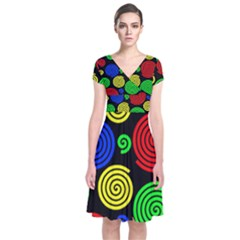 Colorful hypnoses Short Sleeve Front Wrap Dress