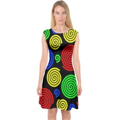 Colorful hypnoses Capsleeve Midi Dress
