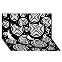 Black And White Hypnoses Twin Hearts 3d Greeting Card (8x4)