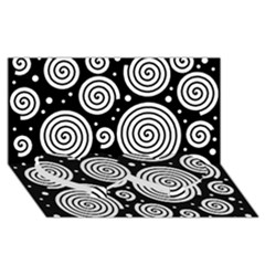 Black and white hypnoses Twin Heart Bottom 3D Greeting Card (8x4)