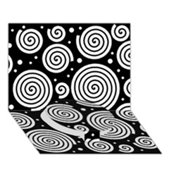 Black and white hypnoses Circle Bottom 3D Greeting Card (7x5)