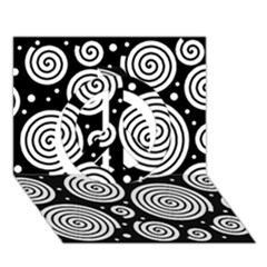 Black and white hypnoses Peace Sign 3D Greeting Card (7x5)