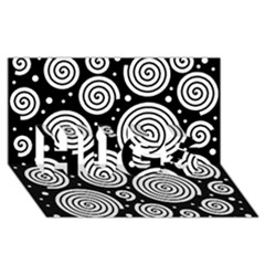 Black and white hypnoses HUGS 3D Greeting Card (8x4)