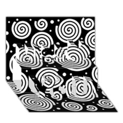 Black and white hypnoses Miss You 3D Greeting Card (7x5)
