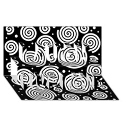 Black and white hypnoses Laugh Live Love 3D Greeting Card (8x4)