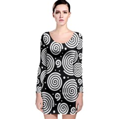 Black and white hypnoses Long Sleeve Bodycon Dress