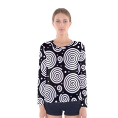 Black and white hypnoses Women s Long Sleeve Tee