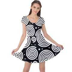 Black and white hypnoses Cap Sleeve Dresses