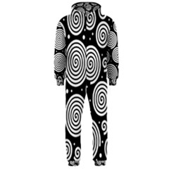 Black and white hypnoses Hooded Jumpsuit (Men)