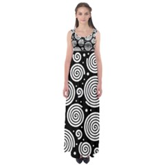 Black and white hypnoses Empire Waist Maxi Dress