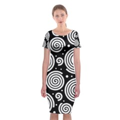 Black and white hypnoses Classic Short Sleeve Midi Dress