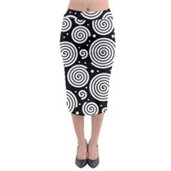 Black And White Hypnoses Midi Pencil Skirt