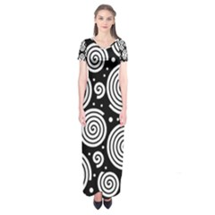 Black and white hypnoses Short Sleeve Maxi Dress