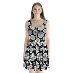 Black and white hypnoses Split Back Mini Dress
