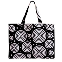 Black And White Hypnoses Medium Zipper Tote Bag