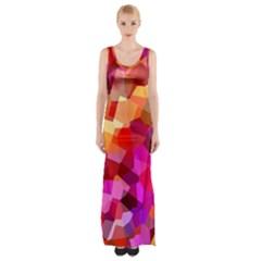 Geometric Fall Pattern Maxi Thigh Split Dress