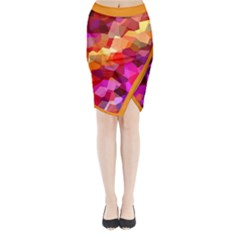 Geometric Fall Pattern Midi Wrap Pencil Skirt
