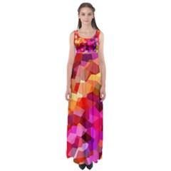 Geometric Fall Pattern Empire Waist Maxi Dress