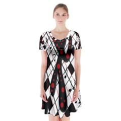 On the dance floor  Short Sleeve V-neck Flare Dress