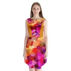 Geometric Fall Pattern Sleeveless Chiffon Dress