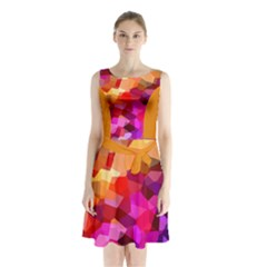 Geometric Fall Pattern Sleeveless Chiffon Waist Tie Dress